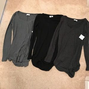 Bp Long Sleeve Tops Shorts Lot Of 3